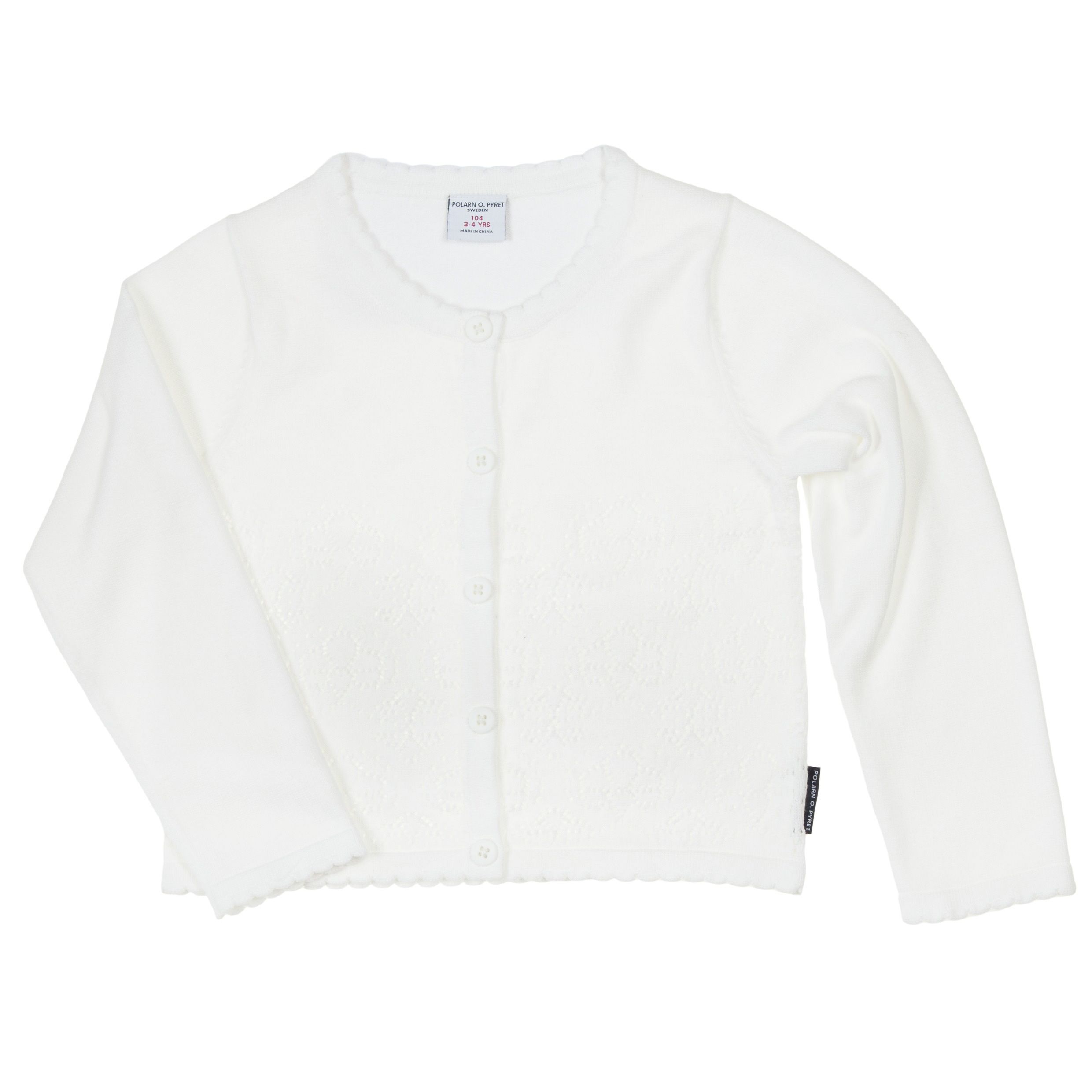 Girls white pointelle cardigan