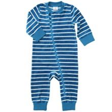 Baby striped velour all-in-one