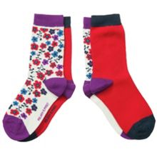 Girls 2 pack floral socks