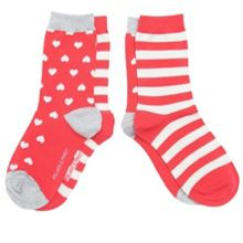 Girls 2 pack hearts and stripes socks