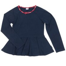 Girls Blue Ruffle Hem Top