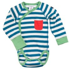 Polarn O. Pyret Babies Striped Wrap Around Bodysuit