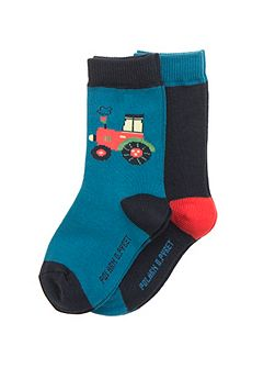 Baby Boys 2 Pack Tractor Socks