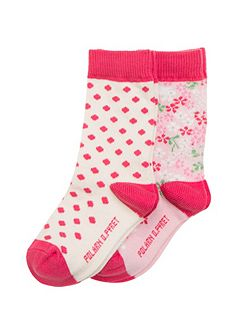 Girls 2 Pack Flower Socks