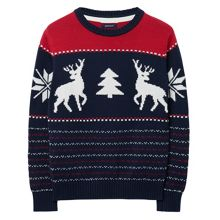 Boys Cotton Reindeer Crewneck Sweater