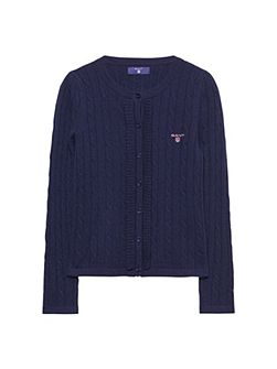Girls Frilled Cable Cardigan