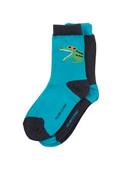 Boys 2 Pack Crocodile Socks