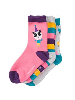 Girls Colourful Bear Socks