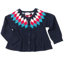 Polarn O. Pyret Baby Girls Diamond Pattern Cardigan