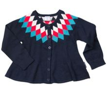 Polarn O. Pyret Girls Diamond Pattern Cardigan