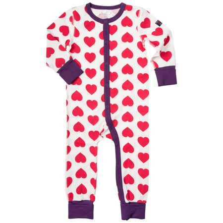 Polarn O. Pyret Baby Girls Heart Print Pyjamas