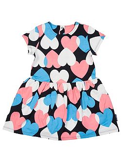 Girls Heart Print Sweatshirt Dress