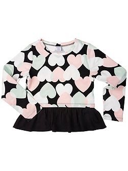 Girls Heart Print Sweatshirt Top