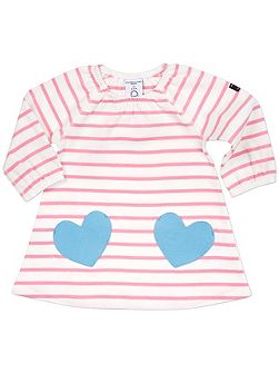 Babies Striped Dress with Heart Pockets