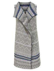 Marc O'Polo Sleeveless Cardigan In Jacquard Pattern