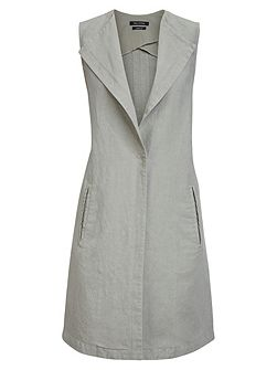 Long Waistcoat Structured Twill