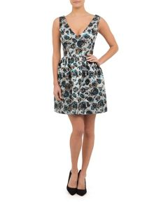 Silver Deep Plunge Party Dress
