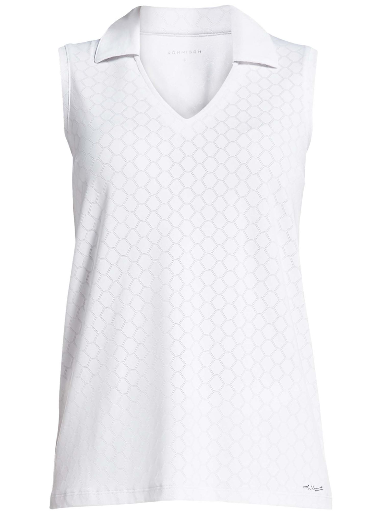 Rohnisch Jacquard Sleeveless Polo, White