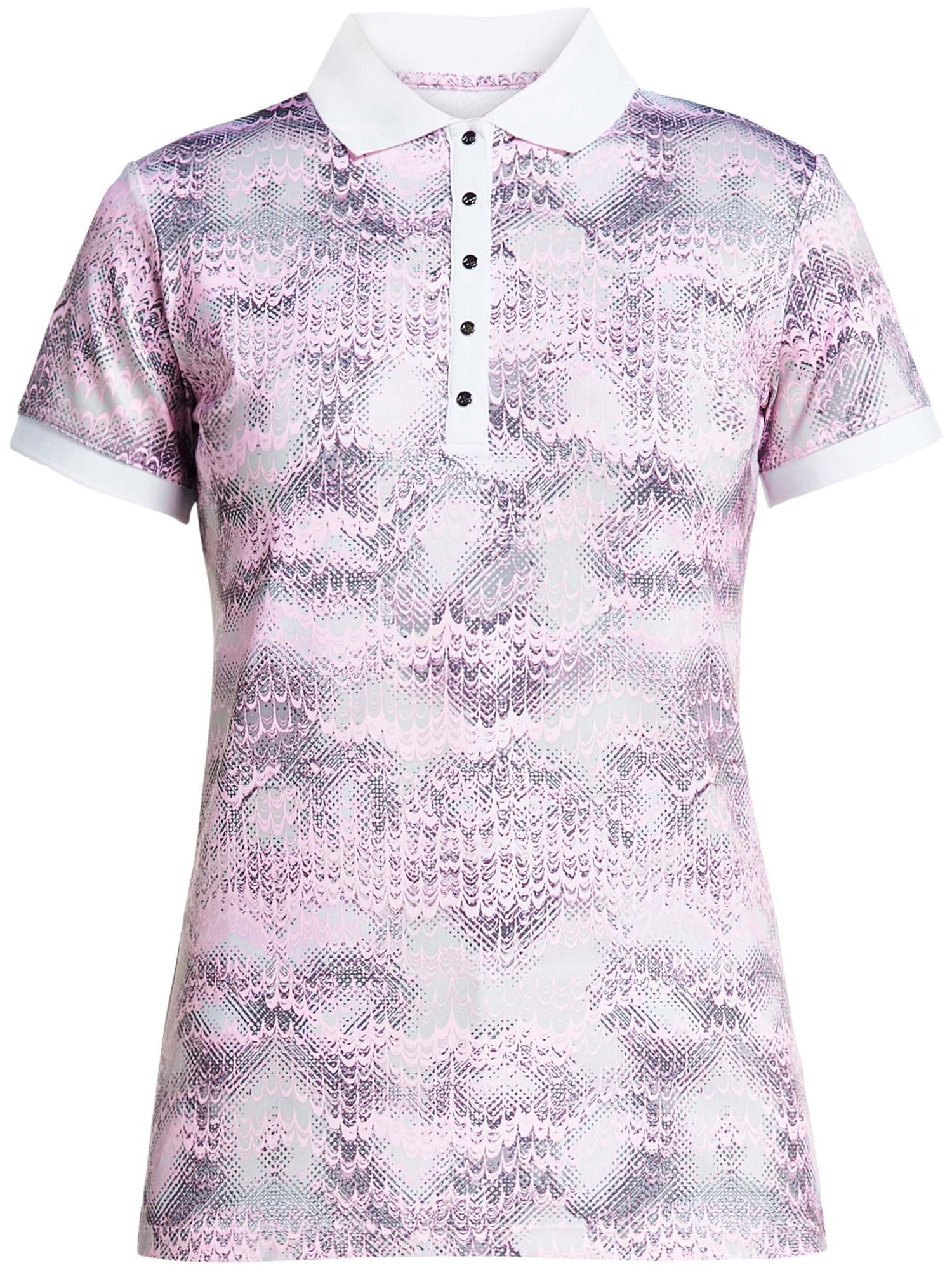 Rohnisch Aop Short Sleeved Polo, 161 Cherry Blossom