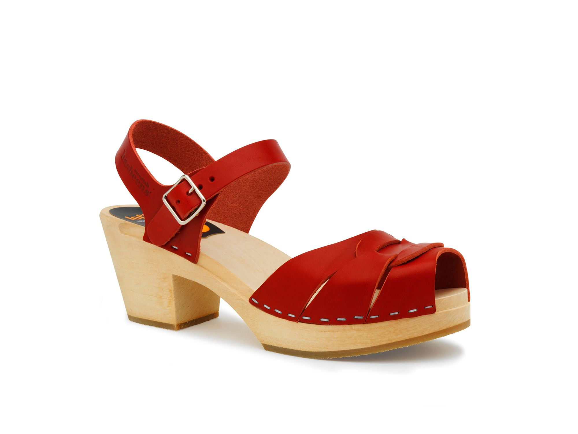 Swedish Hasbeens Peep toe high sandals, Red