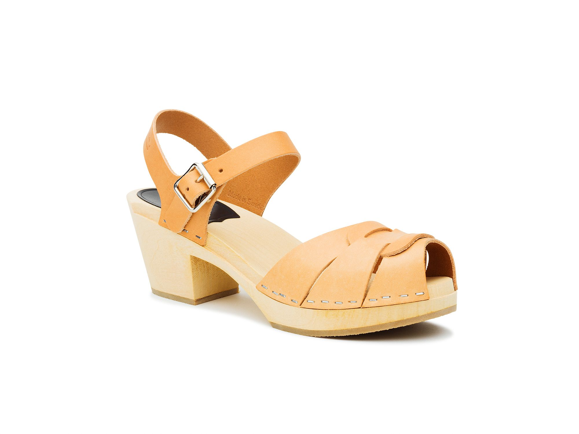 Swedish Hasbeens Peep toe high sandals, Natural