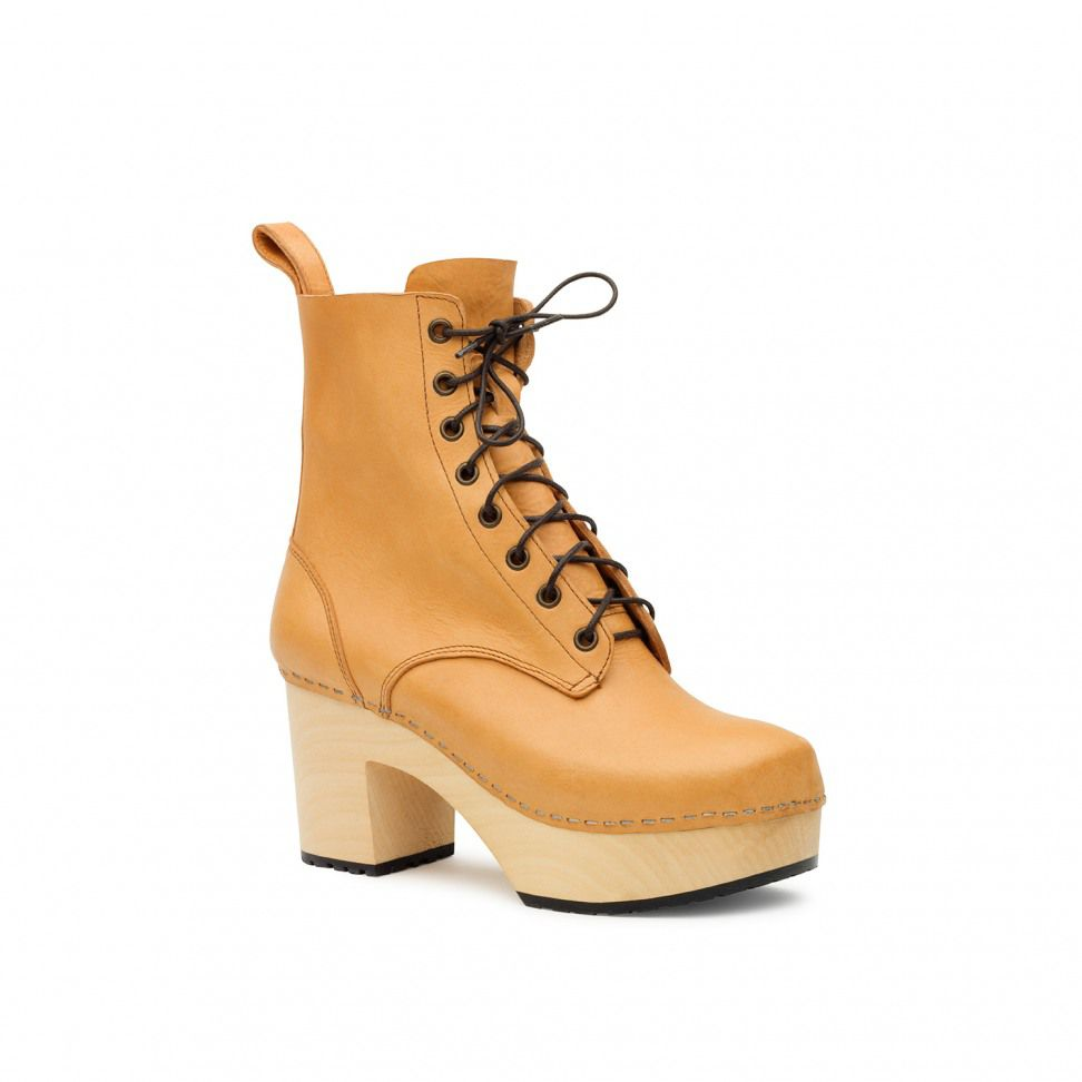 Swedish Hasbeens Swedish Hasbeens Lace up plateau boots, Beige