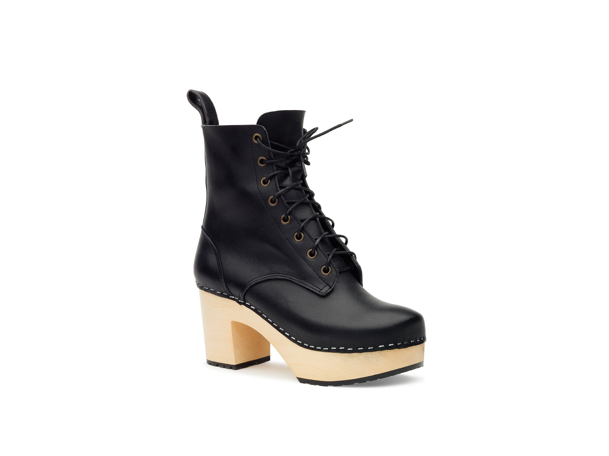 Swedish Hasbeens Swedish Hasbeens Lace up plateau boots, Black