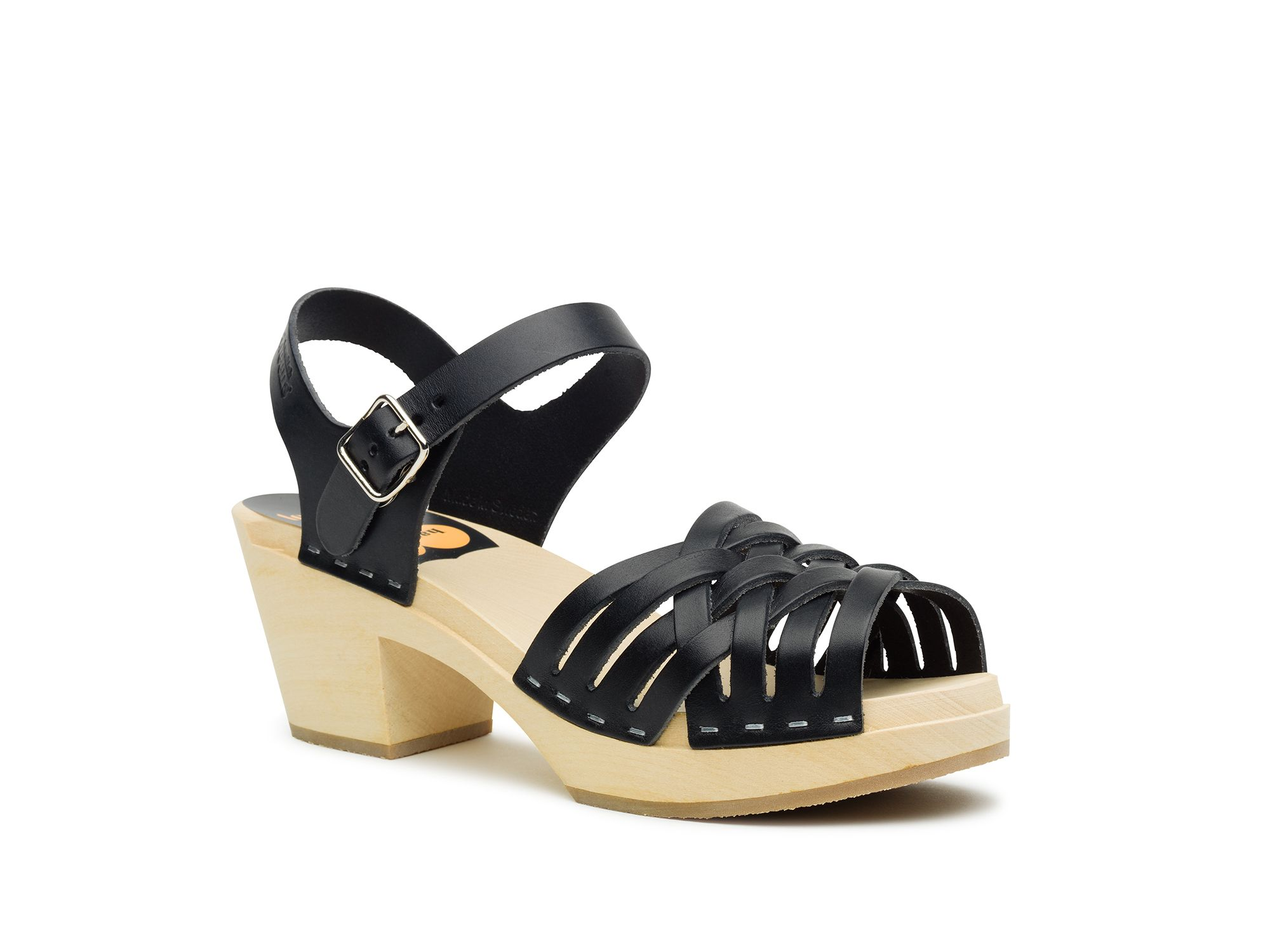 Swedish Hasbeens Braided high sandals, Black Multi