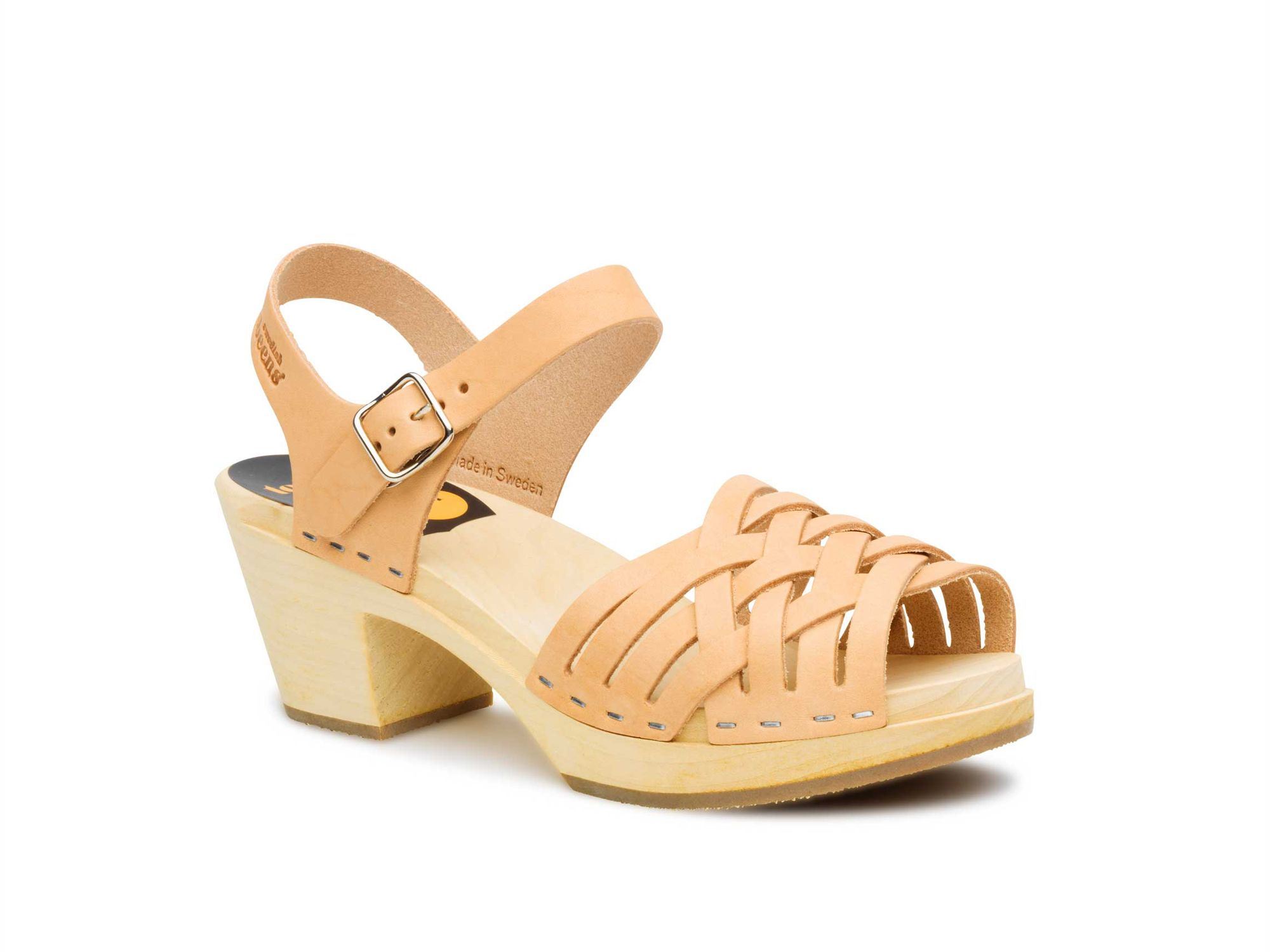 Swedish Hasbeens Braided high sandals, Natural