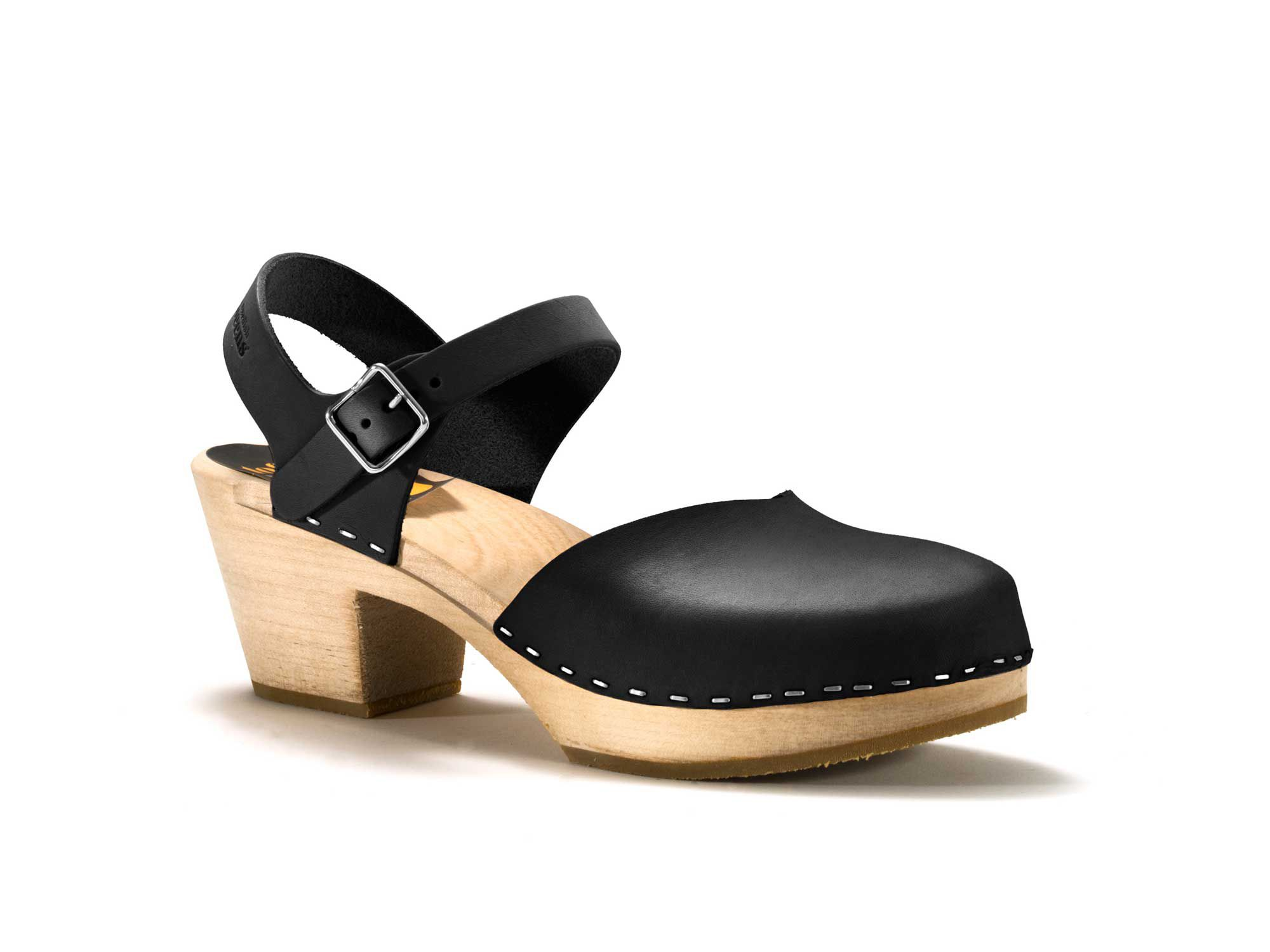 Swedish Hasbeens Covered high sandals, Black