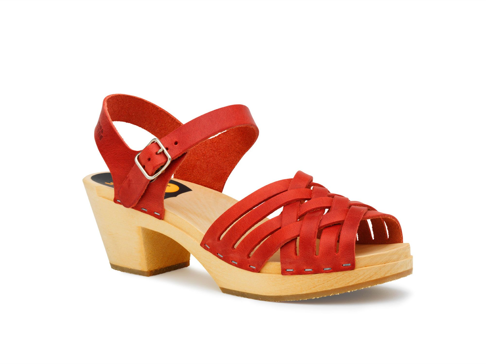 Swedish Hasbeens Braided high sandals, Red