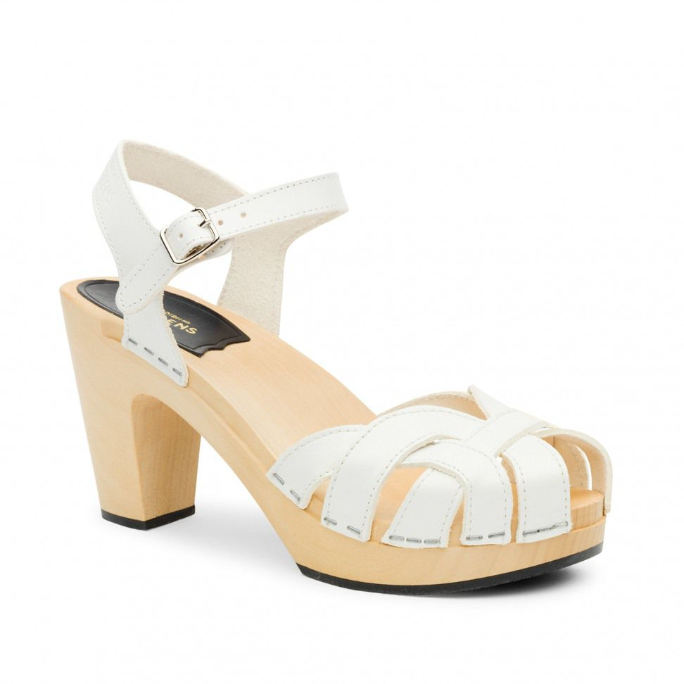 Swedish Hasbeens Pearl Sky High Sandals, White