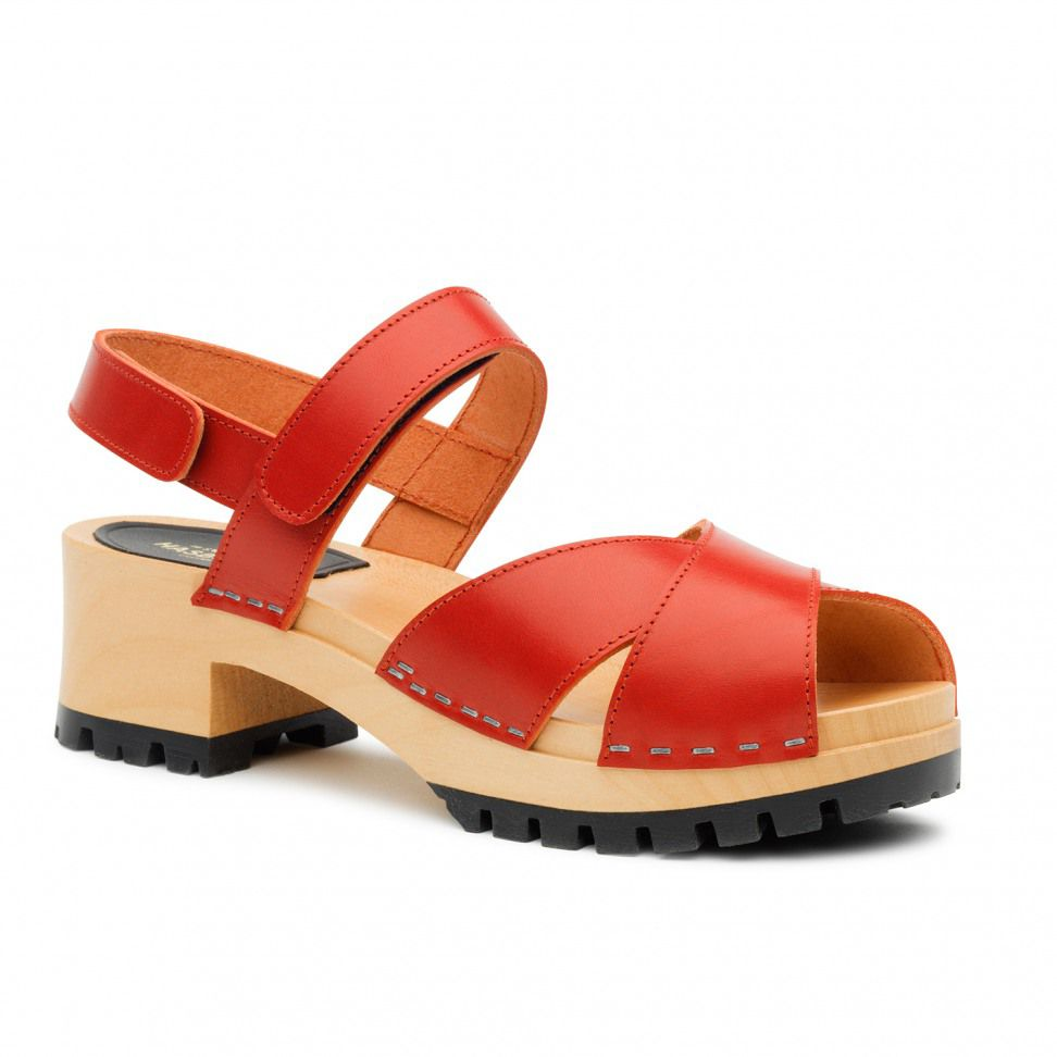 Swedish Hasbeens Cross Tracta Sandals, Red
