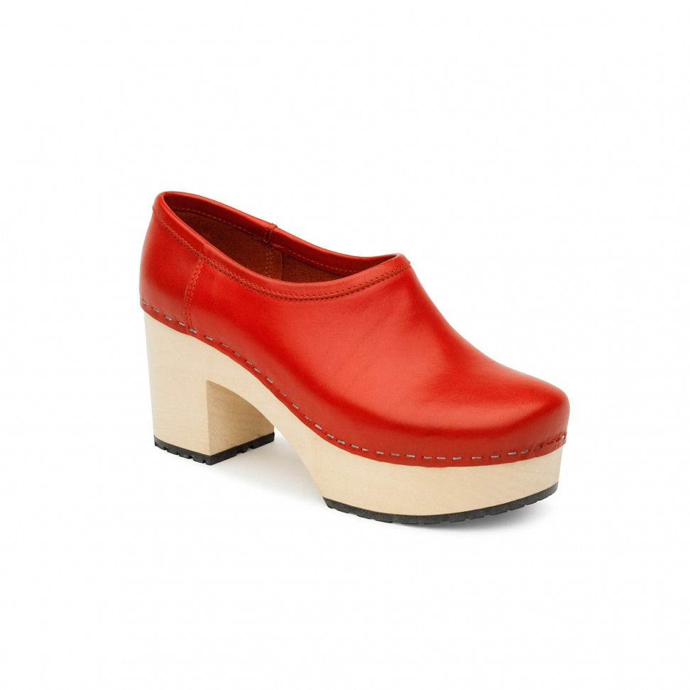 Swedish Hasbeens Bettan  Shoes, Red