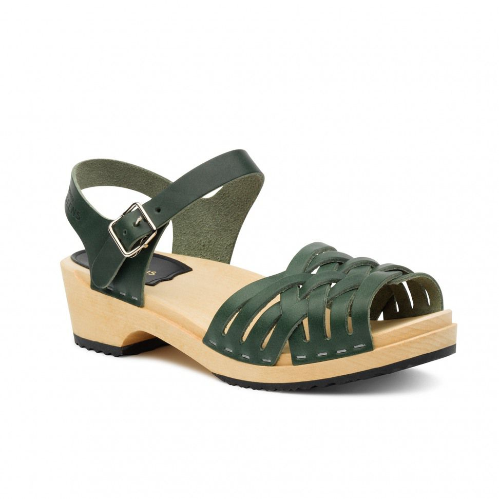 Swedish Hasbeens Braided Low  Sandals, Green