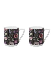 Set of 2 Stacking Mugs Shadow Floral
