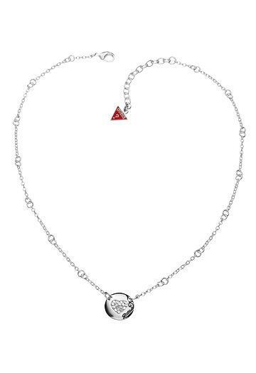 guess black friday pave heart disc necklace