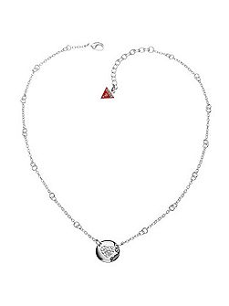 Black Friday Pave Heart Disc Necklace