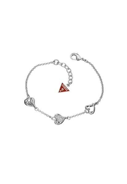 Guess Rhodium plated triple heart bracelet
