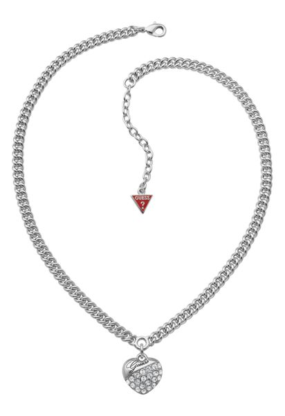 Guess Crystal Crush Silver Heart Necklace