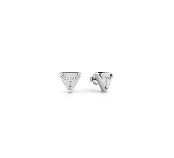 guess rhodium triangle earrings