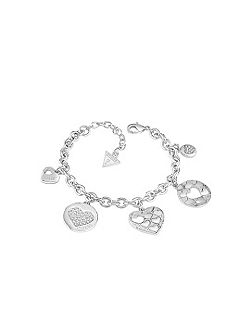 Heart devotion multi charm bracelet