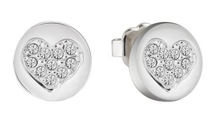 Guess Heart devotion sparkle coin stud earring