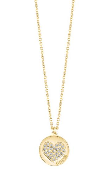 Guess Heart devotion sparkle coin pendant
