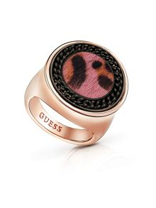 Guess Animal Twist Leopard Coin Ring