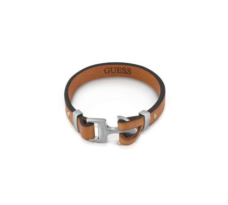 Guess Men`s leather anchor clasp bracelet