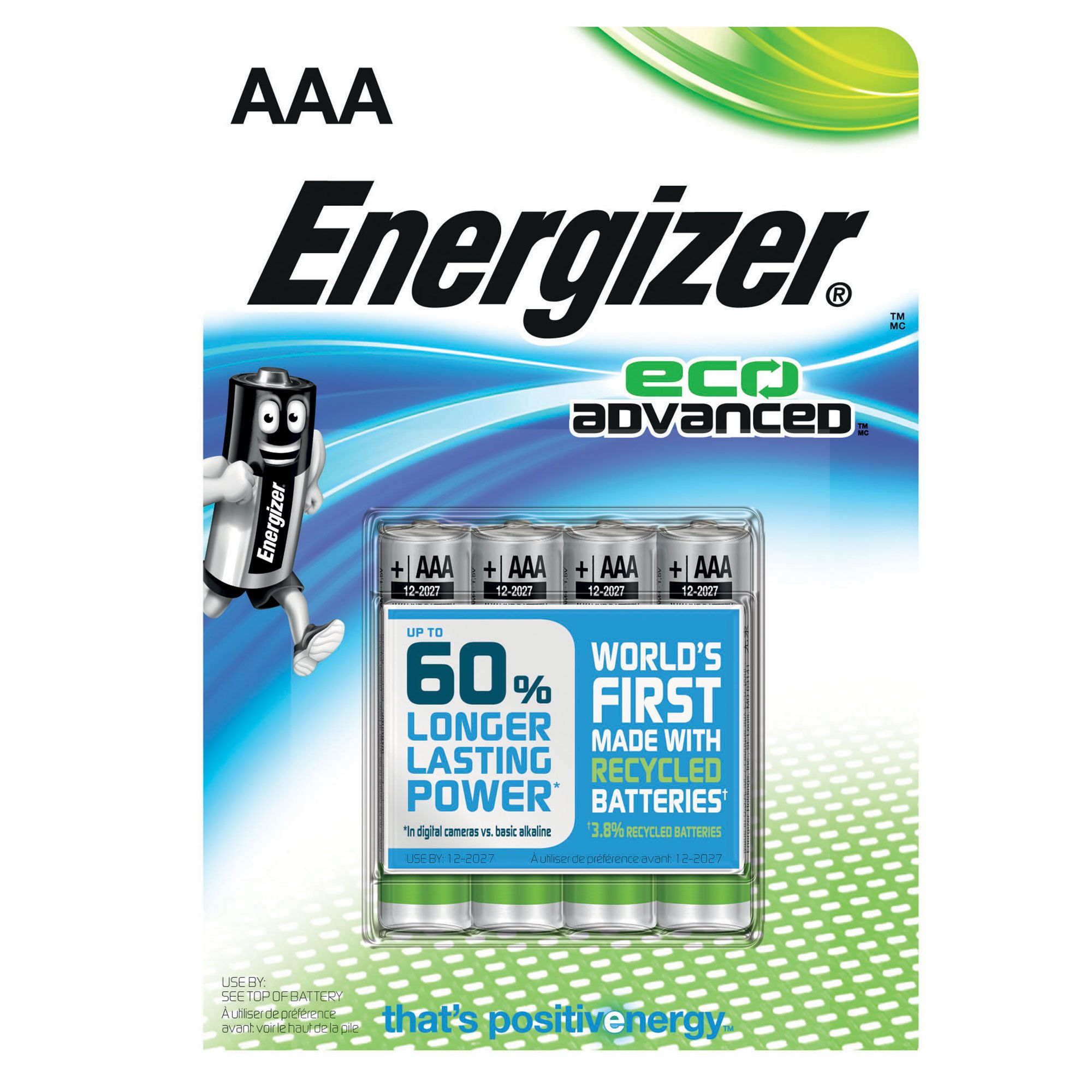 Image of Energizer Eco Advanced AAA Batteries 4 Pack