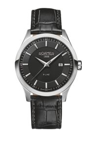 ET19.14ROX R-Line black leather strap watch