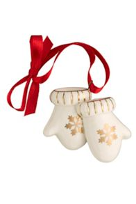 Belleek Living Mittens Hanging Ornament