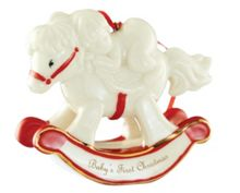 Belleek Living Babys first christmas rocking horse ornament